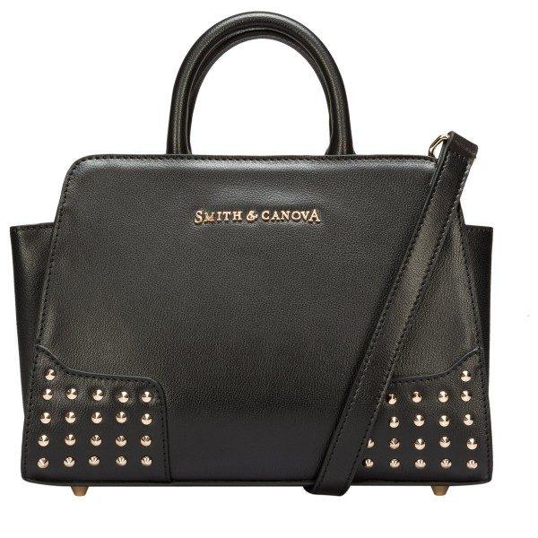 Smith   Canova Corner Studded Small Zip Top Black Leather Grab Bag ... 8ee273fc323d6
