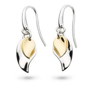 """ac11df31d Kit Heath """"Enchanted"""" Double Leaf Silver and Gold Drop Earrings"""