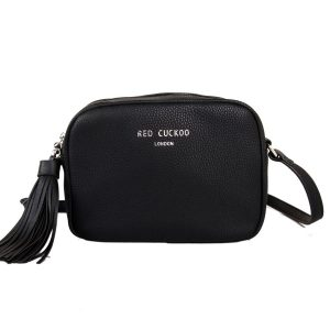 9d3cf81c40fb0 Red Cuckoo Tassel Across Body Bag – Black